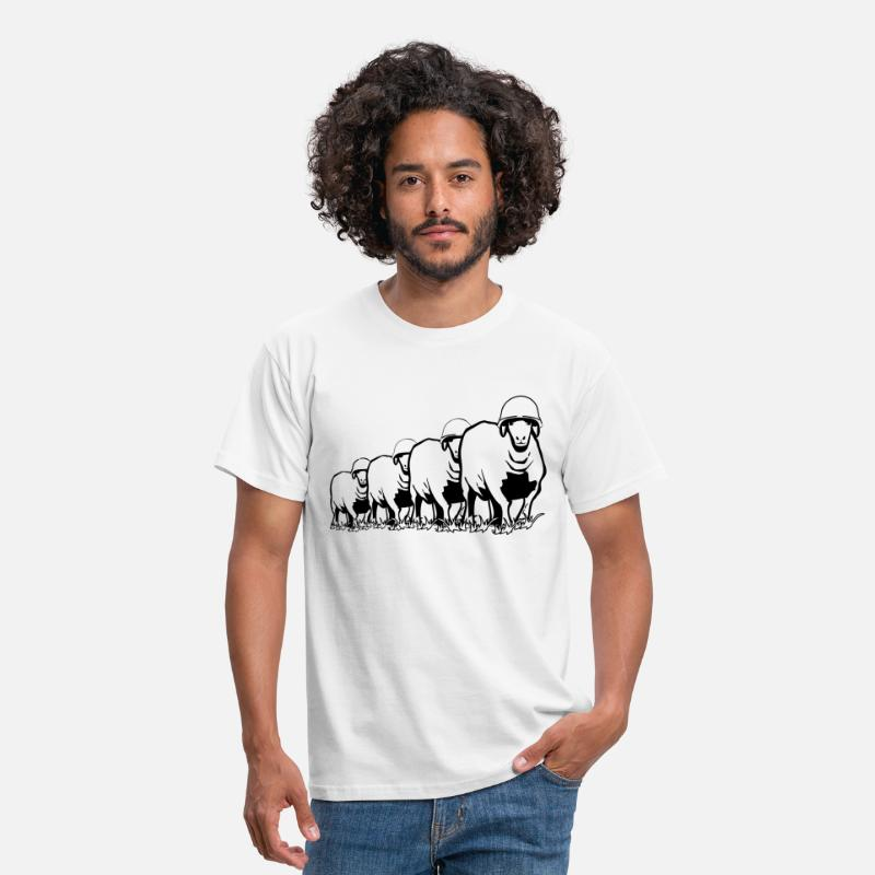 Comic T-Shirts - SHEEP marching soldiers peace stahlhelm - Men's T-Shirt white