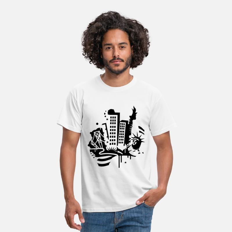 New York T-shirts - A New-York City Design   dans le style de graffiti  - T-shirt Homme blanc