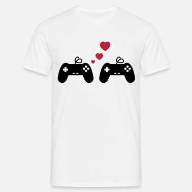 Gamer Couples Game Love, Geek, Couple, Gaming, Gamer - Men's T-Shirt