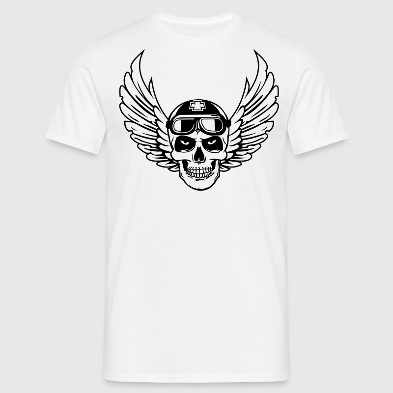 biker skull wings uk - Men's T-Shirt