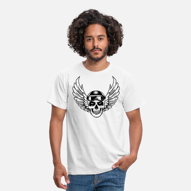 Bad T-Shirts - biker skull wings uk - Men's T-Shirt white