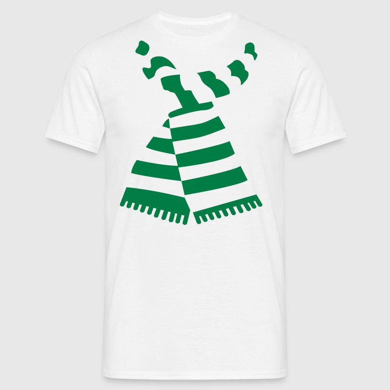 Scarf Print Green Mens-T-Shirt With Stripes - Men's T-Shirt