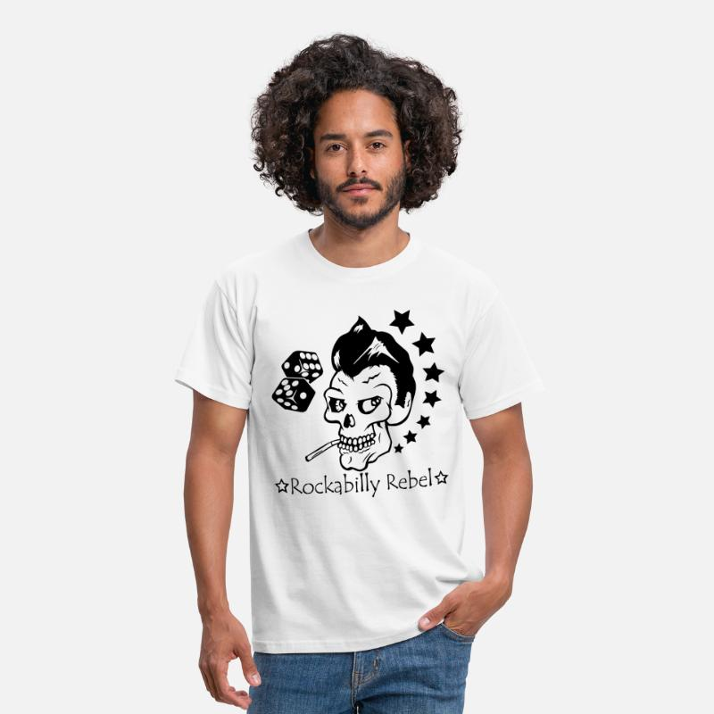 Bil T-shirts - Rockabilly Rebel - T-shirt herr vit