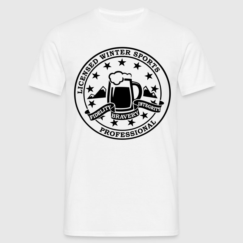 Funny i love winter sports Après-ski beer skiing and party license badge slogan for geek clubbing stag do students partying  - Men's T-Shirt