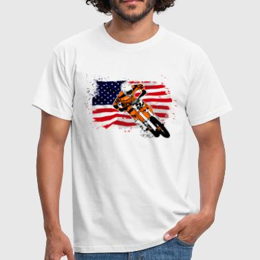 Moto Cross Racing - USA Flag - Camiseta hombre