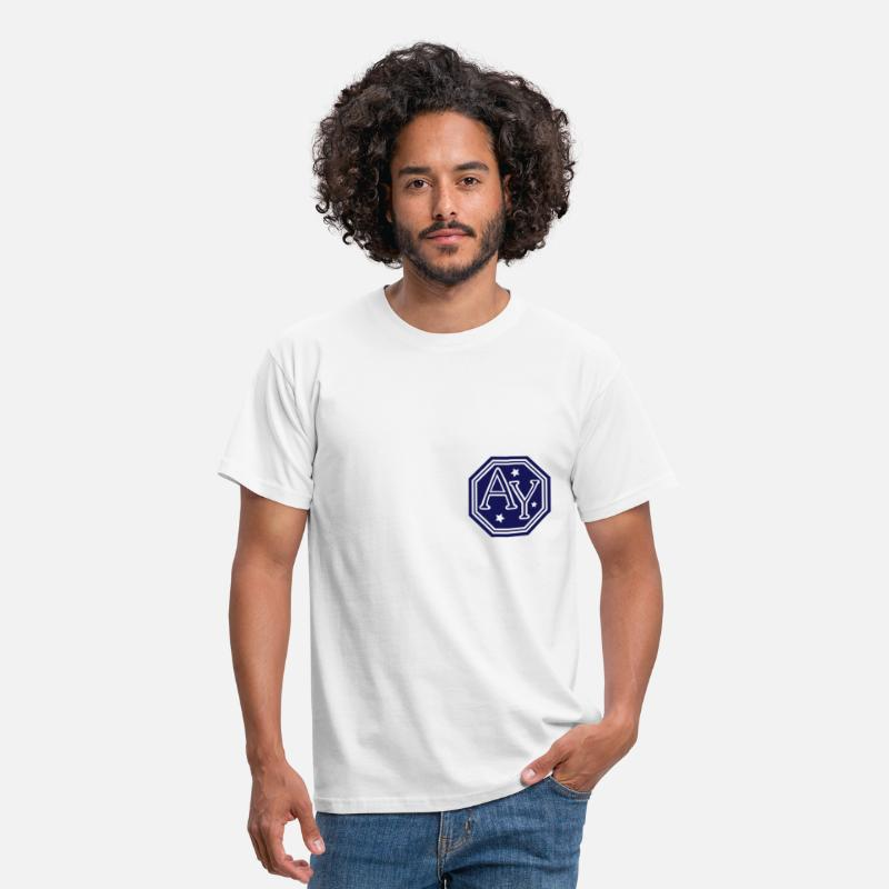 Crest T-Shirts - ay hexagon monogram bold capital initial letters - Men's T-Shirt white