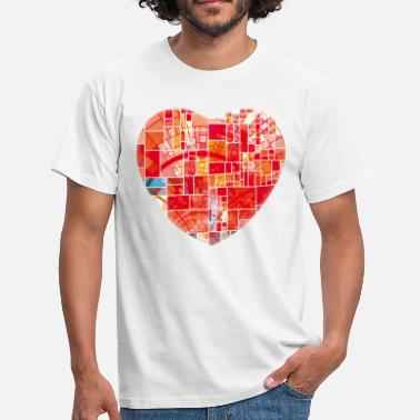 Heart Line Mosaic Heart Gift Idea Valentines Day Anniversary - Men's T-Shirt