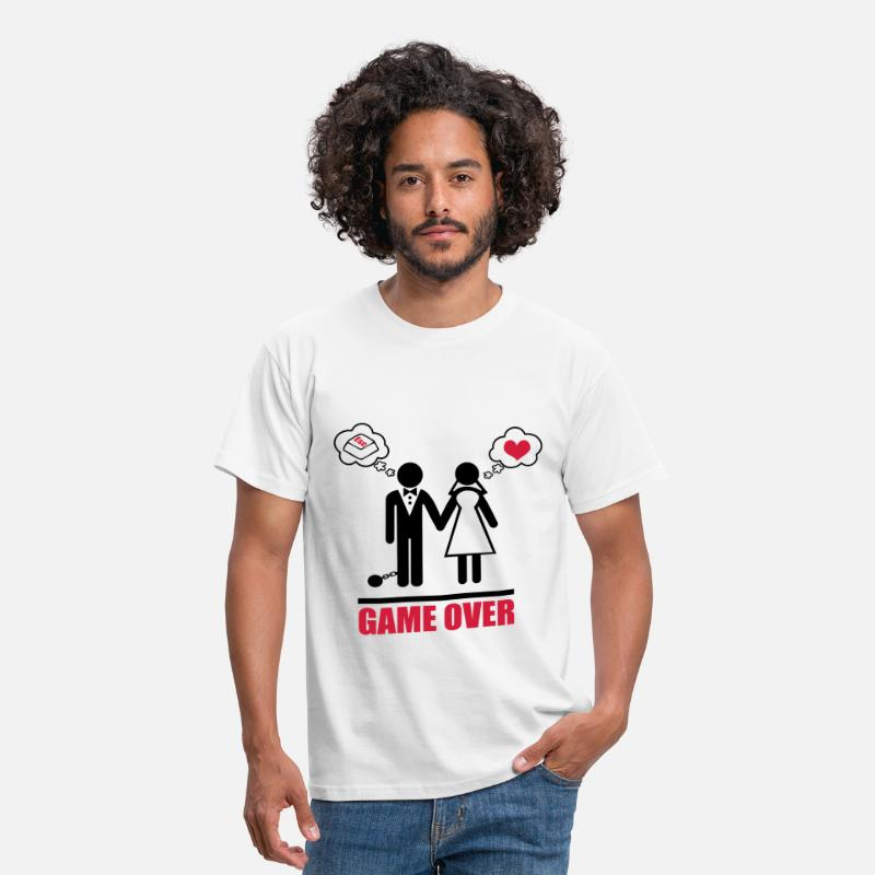 Mariage T-shirts - game over - T-shirt Homme blanc