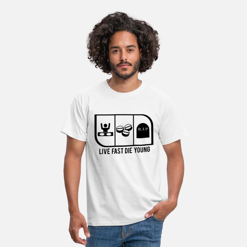 Cocaine T-Shirts - LIVE FAST DIE YOUNG - Men's T-Shirt white