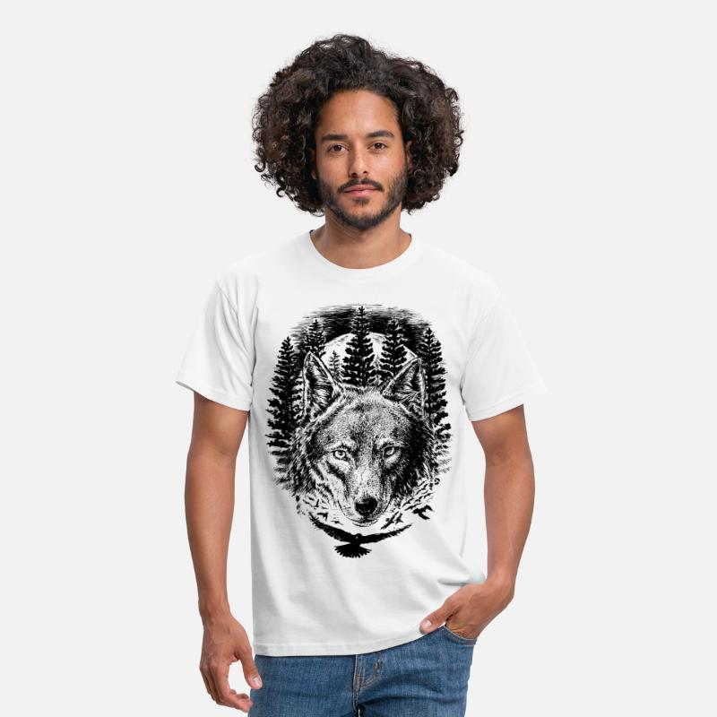 Ulv T-shirt - AD Wolf - Herre T-shirt hvid