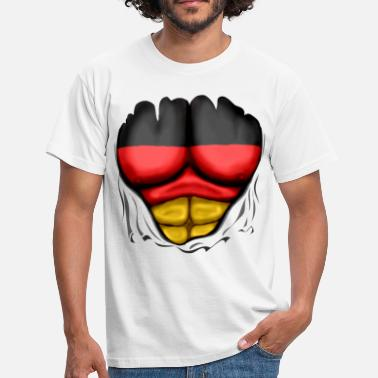 German Flag Ripped Muscles six pack chest t-shirt - Men's T-Shirt