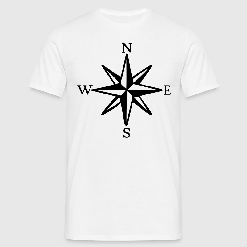 Compass Rose with Cardinal Points (monochrome) - Men's T-Shirt