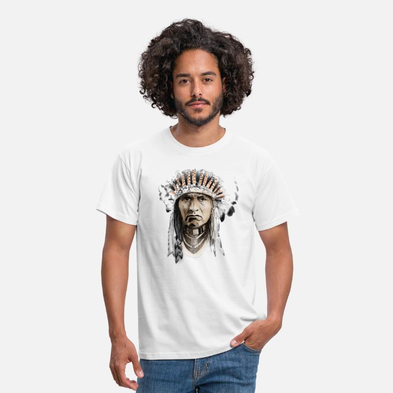 Indio Camisetas - Indian - Camiseta hombre blanco