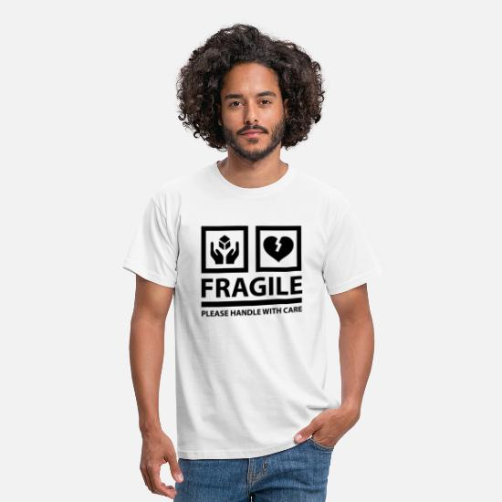 Symbol T-Shirts - FRAGILE - Please Handle With Care - Männer T-Shirt Weiß