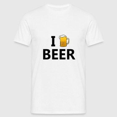 Männer T-Shirt - I love beer - I love beer,alcohol,alcool,amour,bar,beer,bière,drink,drinking,drunk,food,funny,heart,hearts,humor ,irlande,j'aime,j'aime la bière,like,liquor,love,mousse,romance