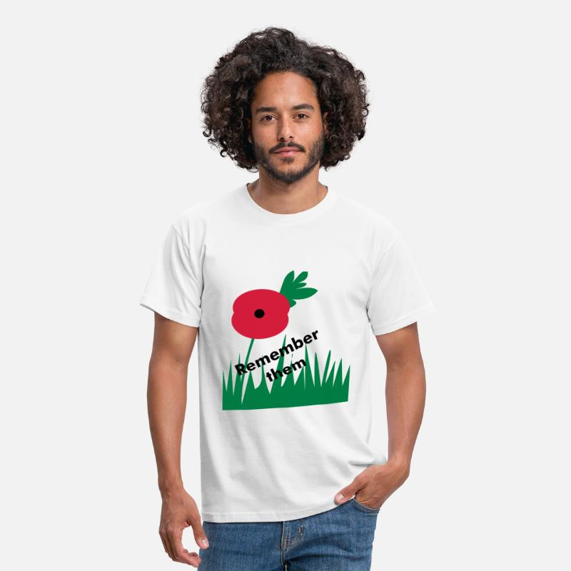 Poppy T-Shirts - Poppy remember them - Men's T-Shirt white