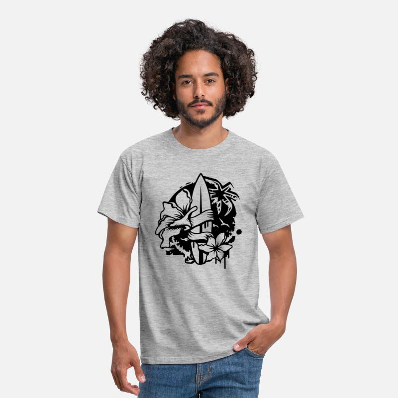 1ed66811a3144 Surfboard with two flowers and a palm tree Men s T-Shirt