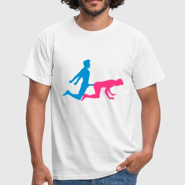 Logo Penis doggy style from behind 2 pairs of couples penis big - Men's T-Shirt
