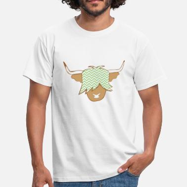 Illustrated Cows Scottish Highland cow green white wave pattern - Men's T-Shirt
