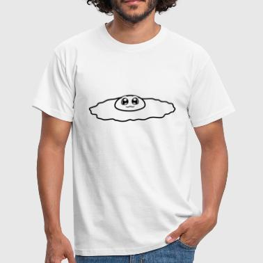 cute face cute eyes fried egg eating lick - Men's T-Shirt