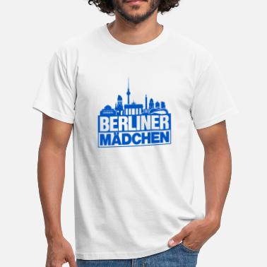 Television Tower Berlin girl blue Berlin silhouette gift - Men's T-Shirt