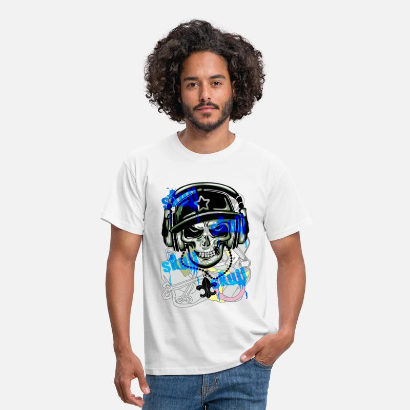 Graffiti T-Shirts - SKULL GRAFFITI - Men's T-Shirt white