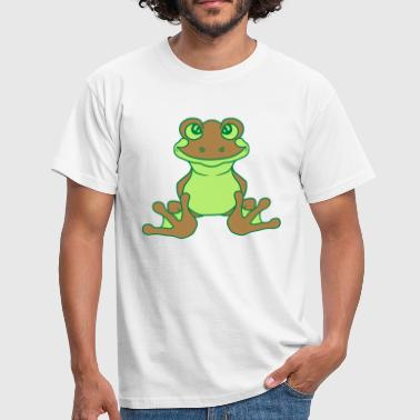 kikker zittend schattige schattige kleine cartoon cartoon - Mannen T-shirt
