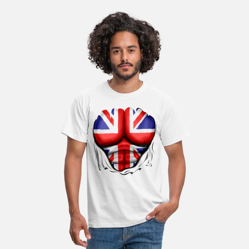 Pack T-Shirts - UK Flag Ripped Muscles, six pack, chest t-shirt - Men's T-Shirt white