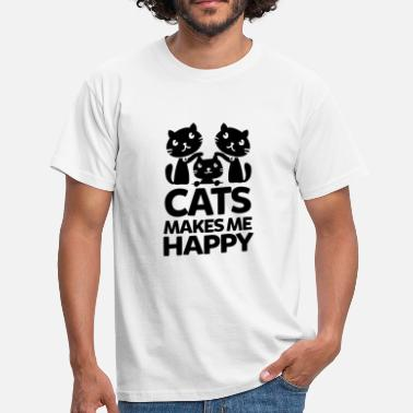 Katzenhalter CATS MAKES ME HAPPY - Männer T-Shirt