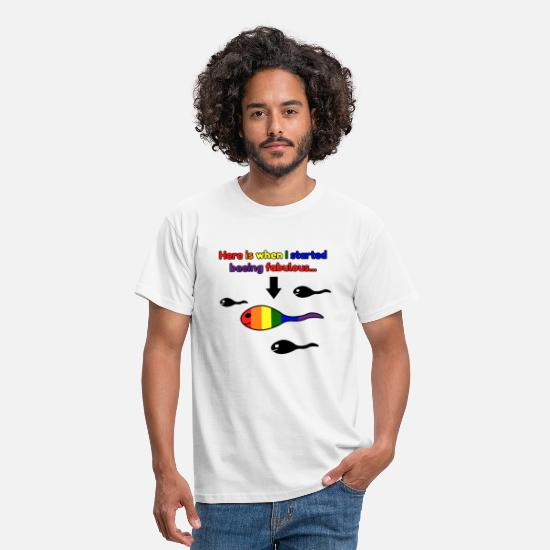 Tadpole T-Shirts - LGBT tadpoles fabulous rainbow - Men's T-Shirt white