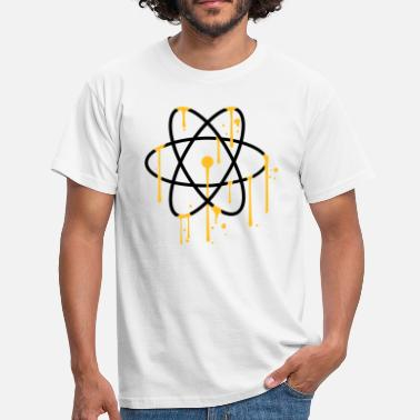 Nuclear Energy wet graffiti drops spray atom symbol sign co - Men's T-Shirt