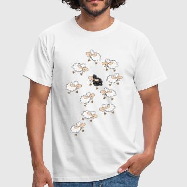 A large flock of sheep, with a little black sheep - Men's T-Shirt