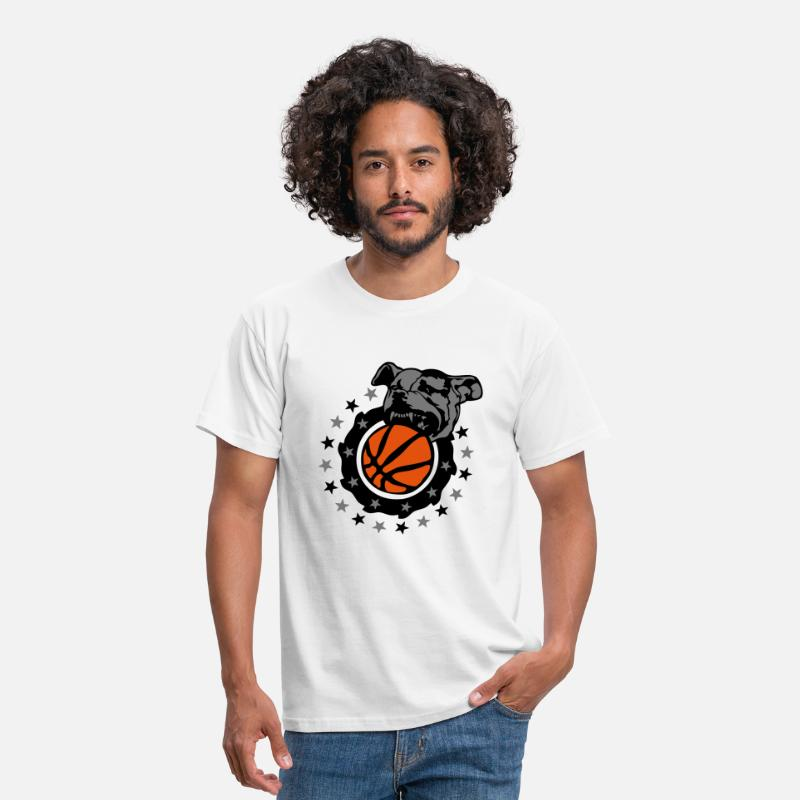 Basketball T-Shirts - basketball chien pitbull dog logo club - Men's T-Shirt white