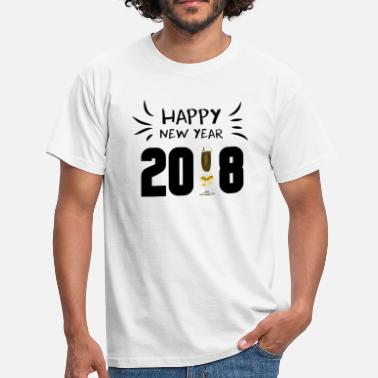Black Circles HAPPY NEW YEAR 2018 with champagne glass black - Men's T-Shirt