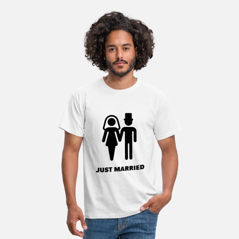 Marriage T-Shirts - Just Married (Bridal Couple) - Men's T-Shirt white