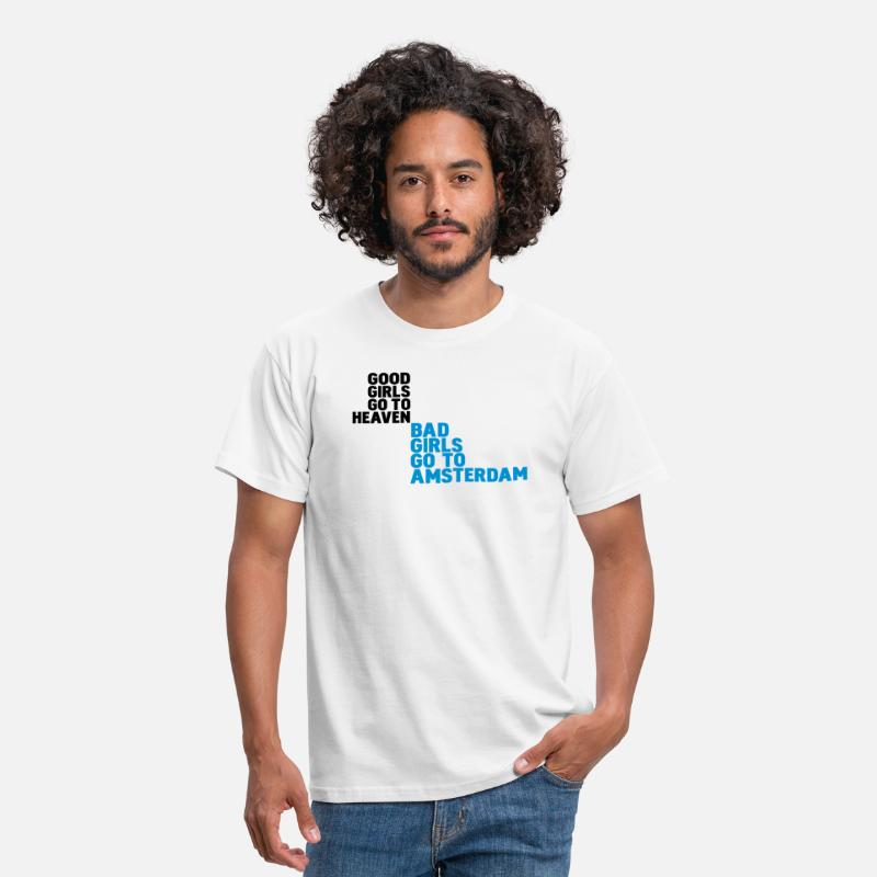 Amsterdam T-Shirts - bad girls go to amsterdam - Mannen T-shirt wit