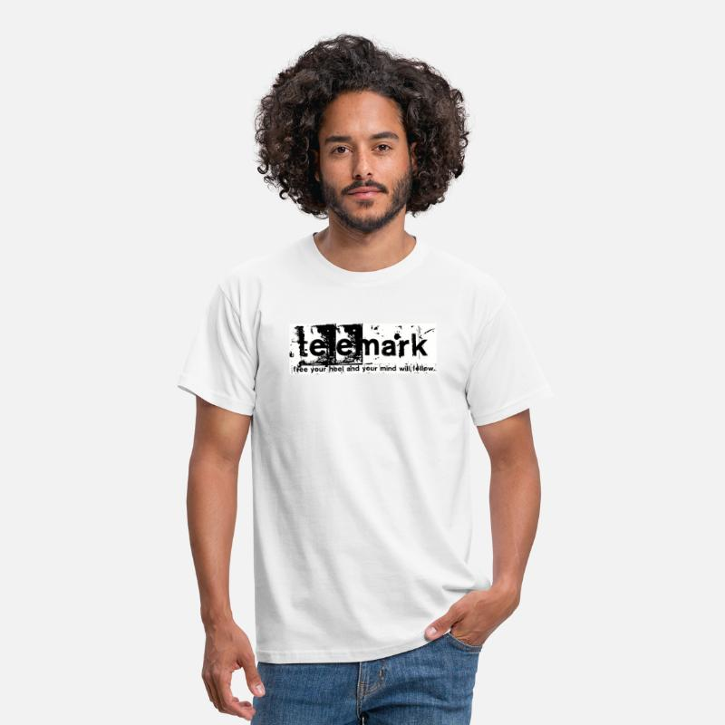 Telemark T-Shirts - Print Free your heel and your mind will follow - Men's T-Shirt white