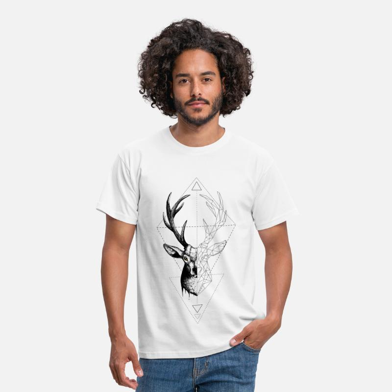 Chasseur T-shirts - Deer Geometrically - T-shirt Homme blanc