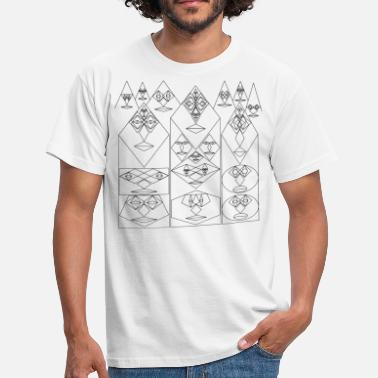 Karo Shape Three Tower Faces with Mountain Faces - Männer T-Shirt