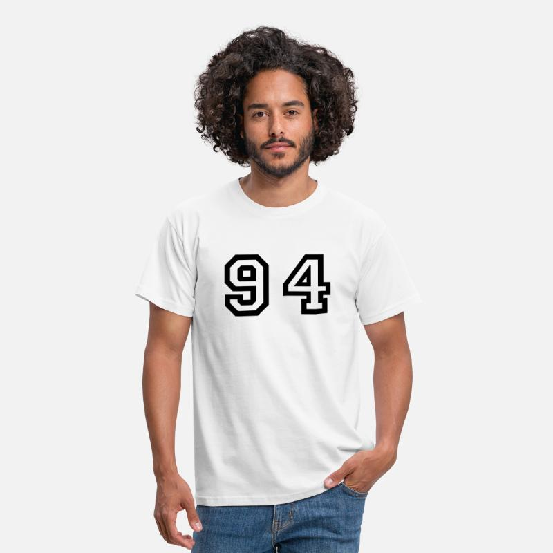 Football T-Shirts - Number - 94 - Ninety Four - Mannen T-shirt wit