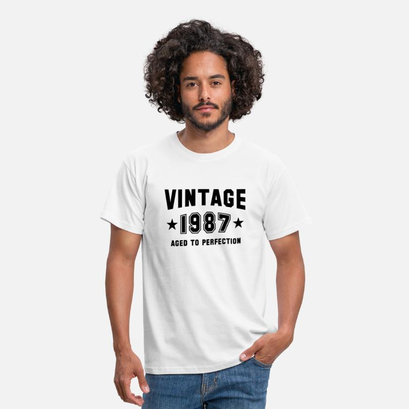 1987 T-Shirts - VINTAGE 1987 - Birthday - Aged To Perfection - Men's T-Shirt white