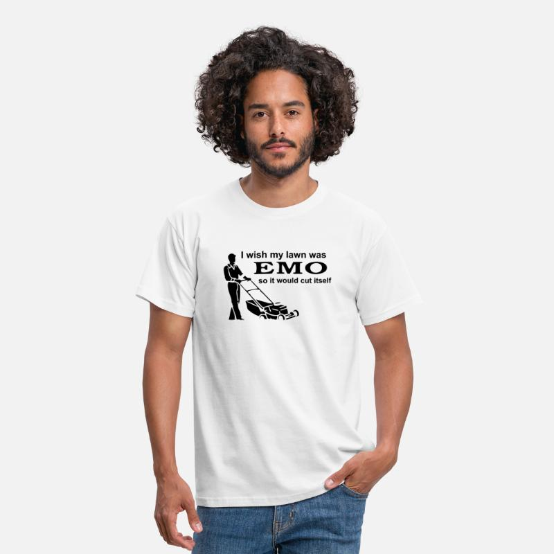 Emo T-Shirts - I Wish My Lawn Was Emo So It Would Cut Itself - Men's T-Shirt white