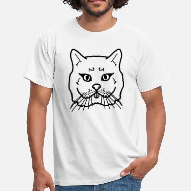 Black Pussy Pussy cat cat sticks out tongue black - Men's T-Shirt