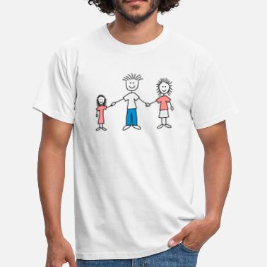 Tændstikmand family_dad_and_mom_with_girl_3c - Herre-T-shirt