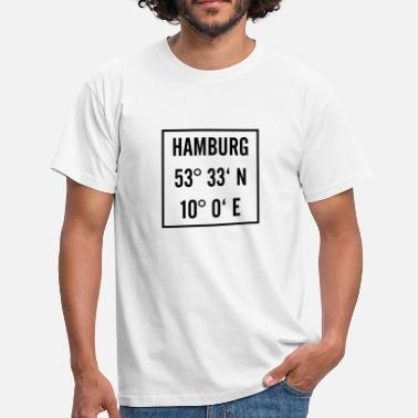 Latitude Hamburg black with latitude and longitude - Men's T-Shirt