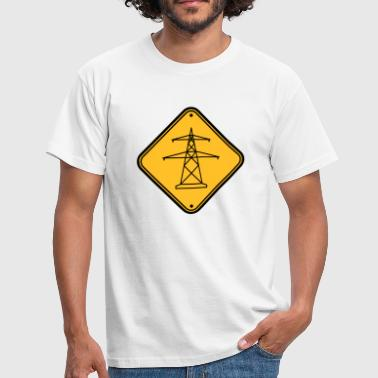 Note caution sign warning danger electricity pylon - Men's T-Shirt