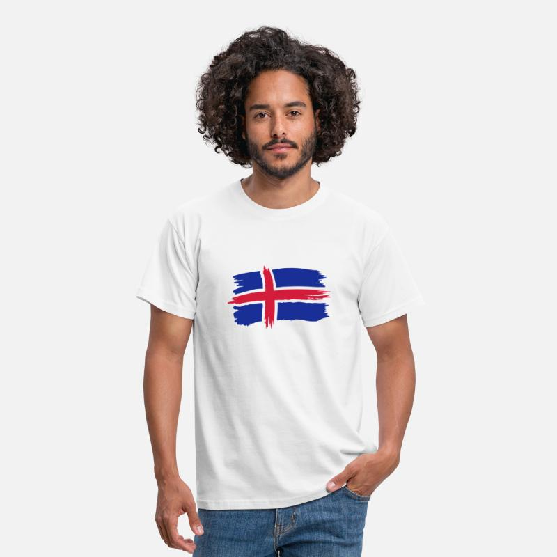 Football T-Shirts - Island Iceland Flagge - Men's T-Shirt white