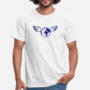 Illustration earth with wings - Men's T-Shirt