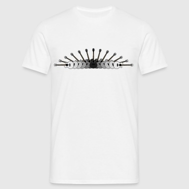 Array of Guitars in Black and White - Men's T-Shirt