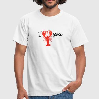 I LOVE YOU lobster shearing heart - Men's T-Shirt